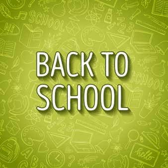 Back to school sketch background green
