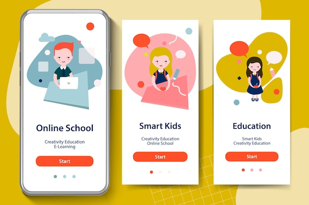Back to school, smart kids, online education. onboarding screens for mobile app templates concept.