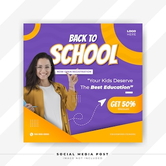 Back to school social media banner template