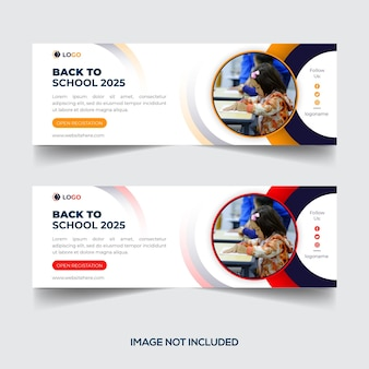 Back to school social media cover photo or email signature or banner design template
