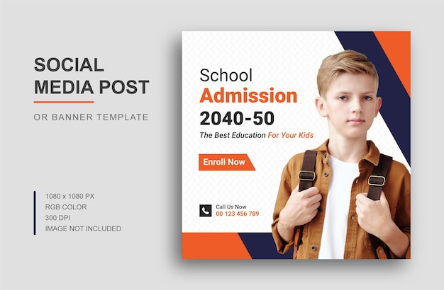 Back to school social media instagram post or banner design