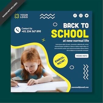 Back to school social media post design vector
