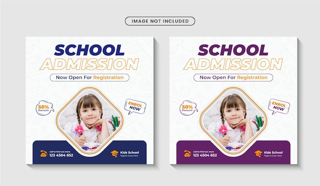 Back to school social media post or education admission square banner template premium vector