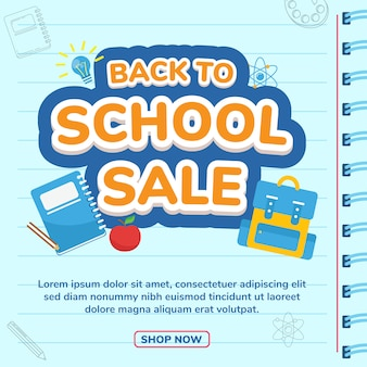 Back to school social media post template banner sale