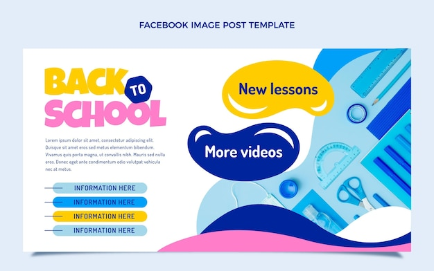 Back to school social media post template Free Vector