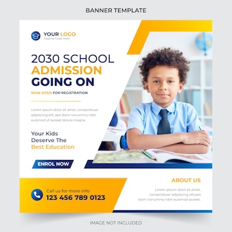 Back to school social media post and web banner design template premium vector