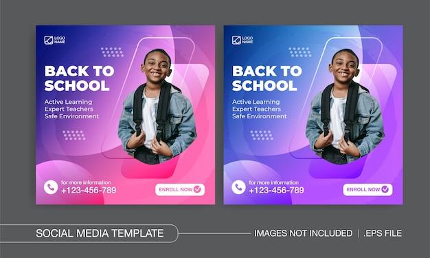Back to school social media posts design premium vector