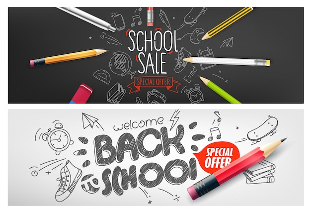 Back to school special offer banner, special offer vouchers set