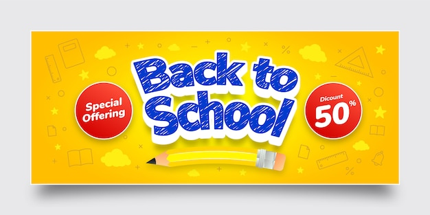 Back to school special offering discount banner template, blue, yellow, white, red, text effect, background