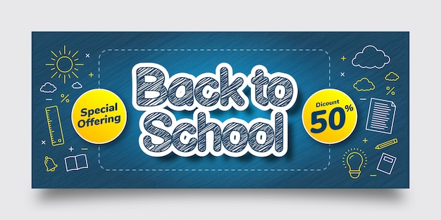 Back to school special offering discount banner template, blue, yellow, white, text effect, background