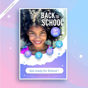 Back to school square advertising or poster template template