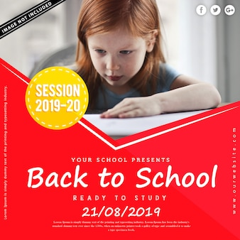 Back to school square advertising or poster template
