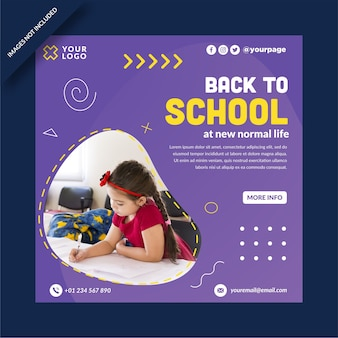Back to school square banner instagram social media post