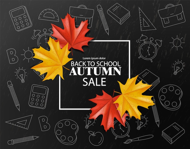 Back to school square sale banner for discount and offer