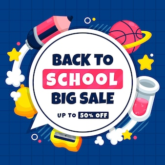 Back to school square sales banner