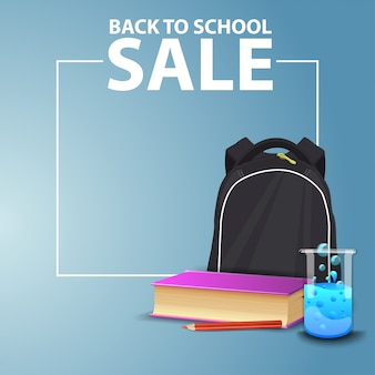 Back to school, square web banner for your website with school backpack
