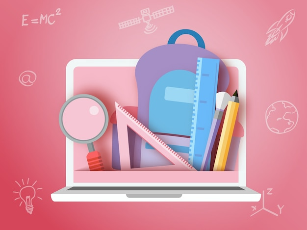 Back to school stationary and laptop paper art style