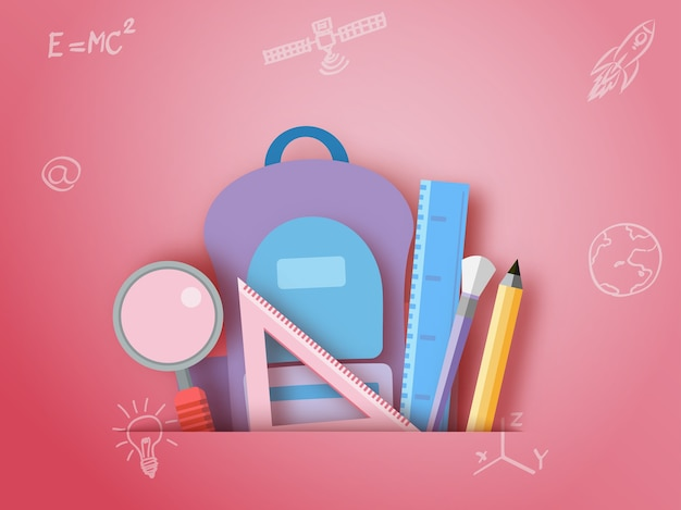 Back to school ,stationary paper art style.