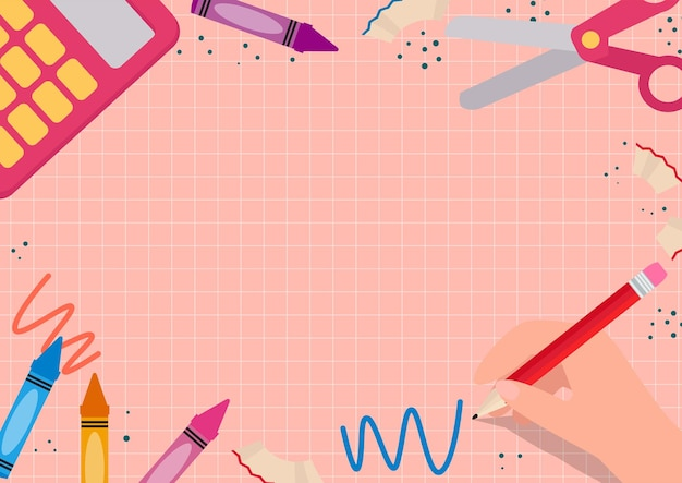 Back to school stationery frame template