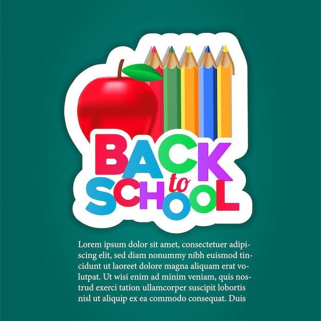 Back to school sticker with apple and pencil color