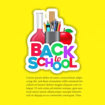 Back to school sticker with flask, pencil case, and apple,