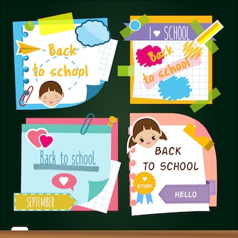 Back to school stickers. memory sticky notes, study symbols.
