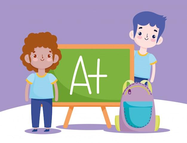 Back to school, student boys bag chalkboard elementary education cartoon illustrationvector illustration