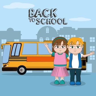 Back to school students kids cartoons vector illustration graphic design
