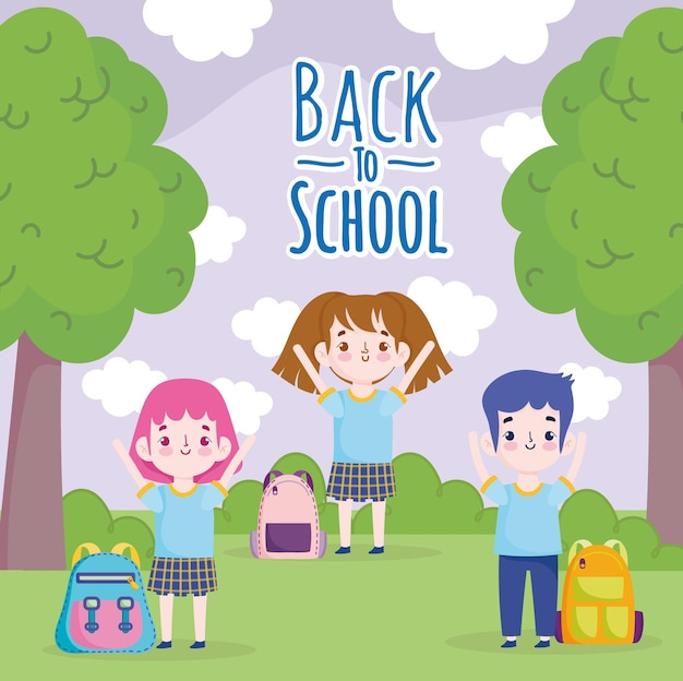 Back to school students with backpack in the park cartoon  illustration