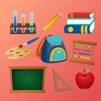 Back to school supplies education icon set
