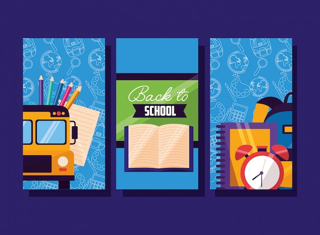 Back to school supplies flyer set