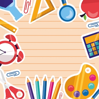 Back to school supplies frame background