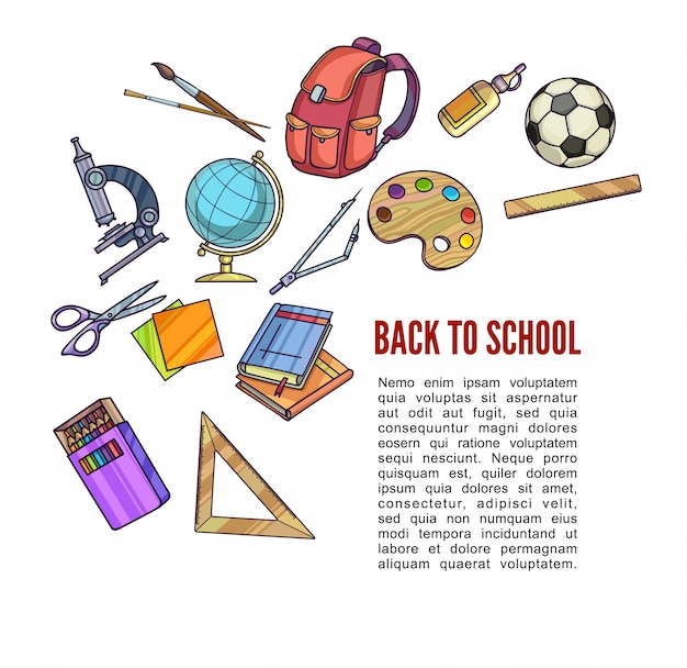 Back to school supplies and learning equipment or office accessories for poster design.