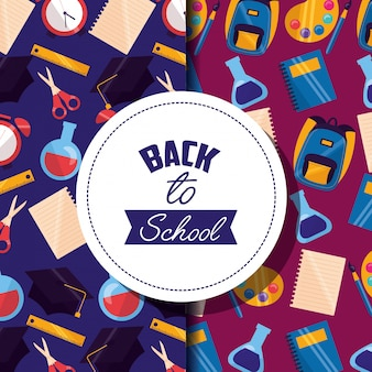 Back to school  supplies pattern in flat style