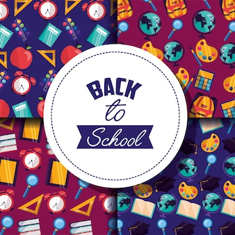 Back to school supplies pattern set