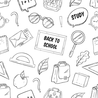 Back to school supplies in seamless pattern with sketch style