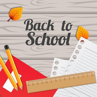 Back to school template background on the wood