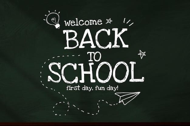Back to school template on blackboard