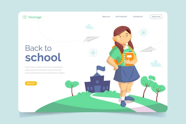Back to school template for landing page