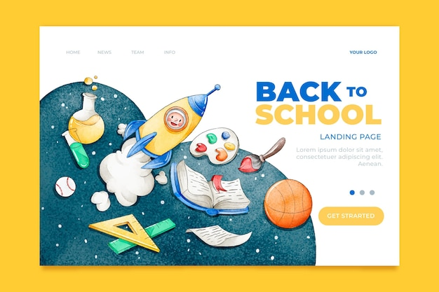 Back to school template landing page Premium Vector