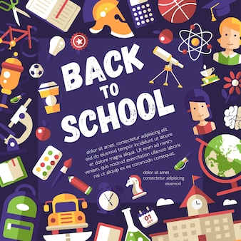 Back to school template of school, college flat