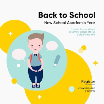 Back to school template vector illustration