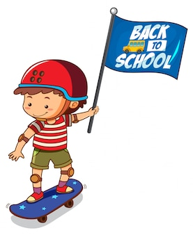 Back to school template with boy