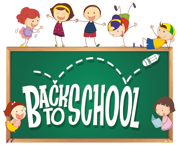 Back to school template with doodle children