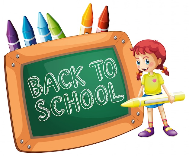 Back to school template with girl