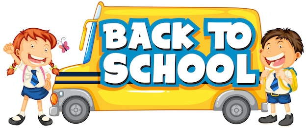 Back to school template with school bus