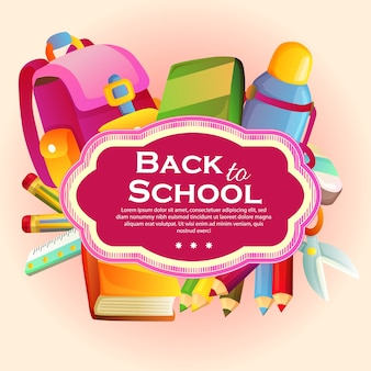 Back to school template with stationary