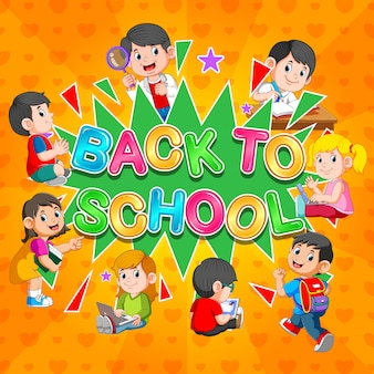 Back to school template with students