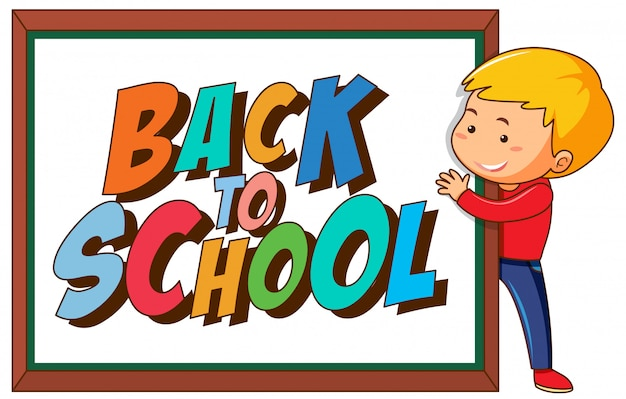 Back to school template withboy