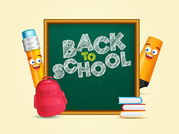 Back to school text on chalkboard with cartoon character highlig